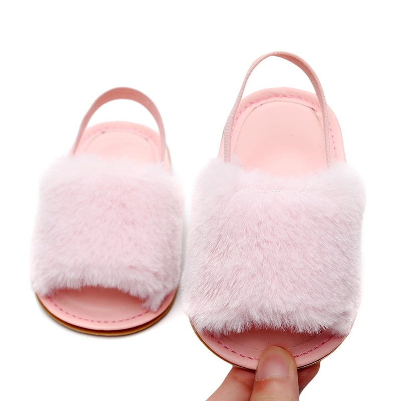Fluffy Slides | Light Pink