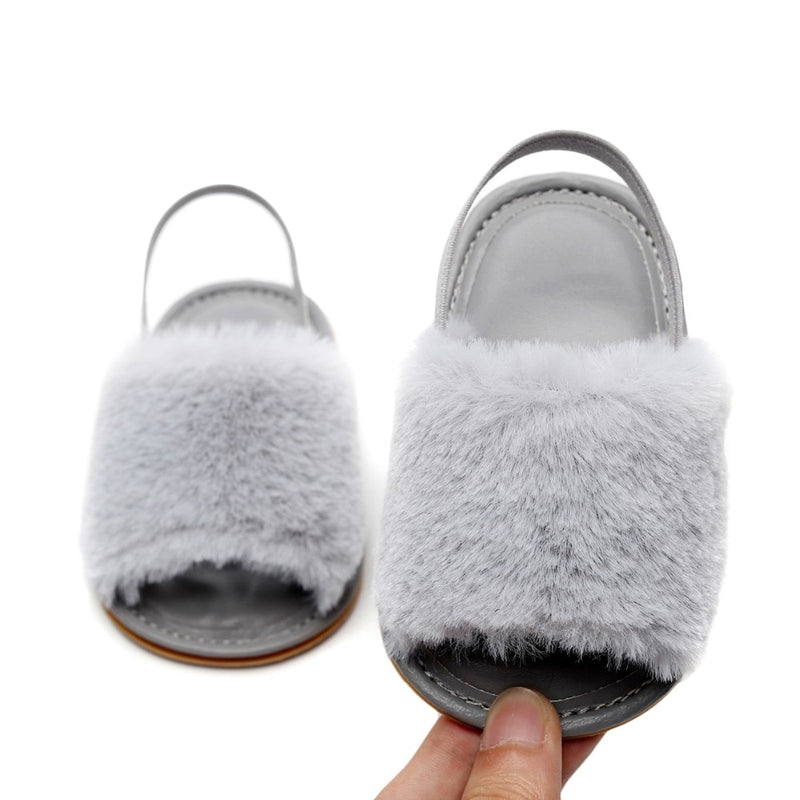 Fluffy Slides | Grey