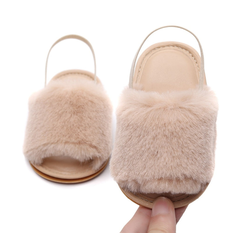 Fluffy Slides | Beige