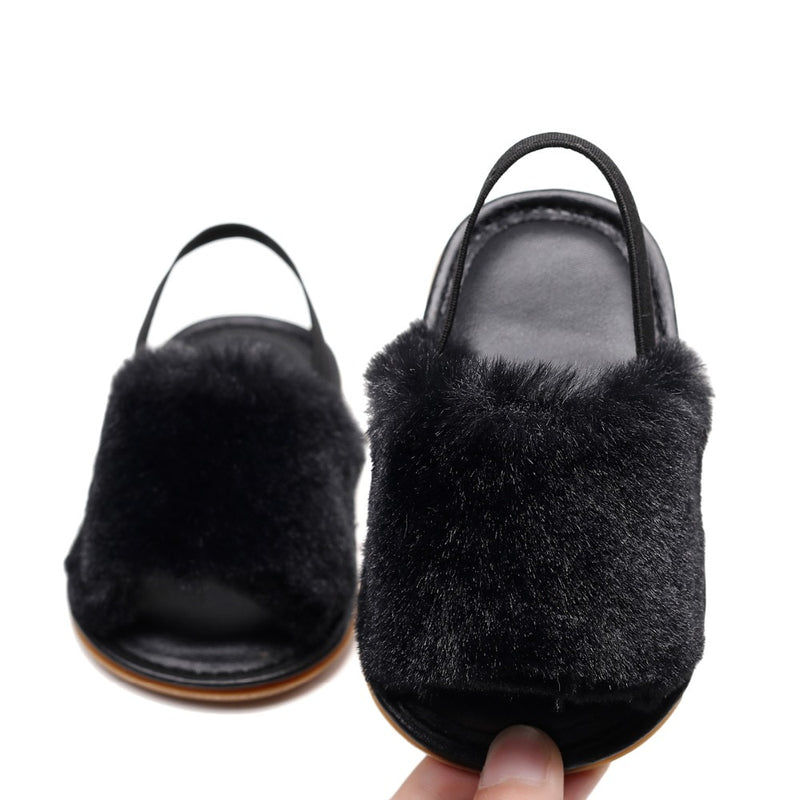Fluffy Slides | Black