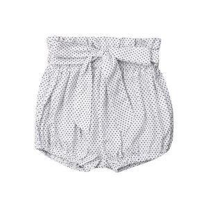 High Waist Shorts | White Polka Dot