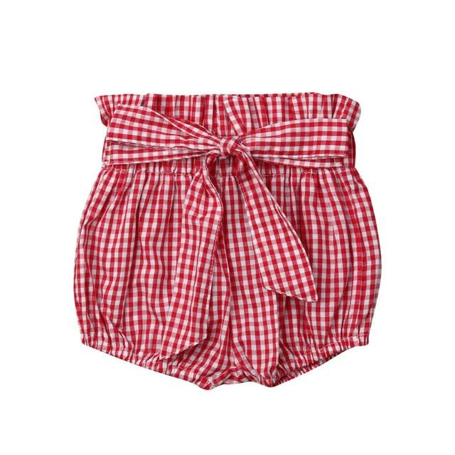 High Waist Shorts | Red Checkers