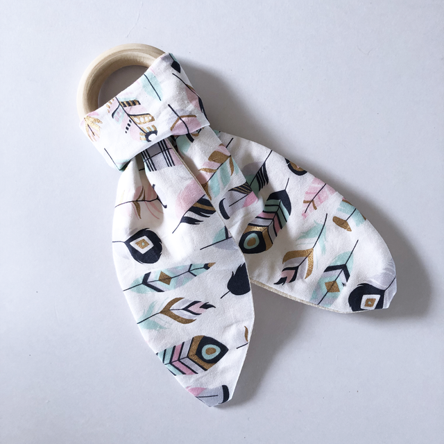 Olive June and Co - Natural Wood Fabric Teether | Boho Bebe
