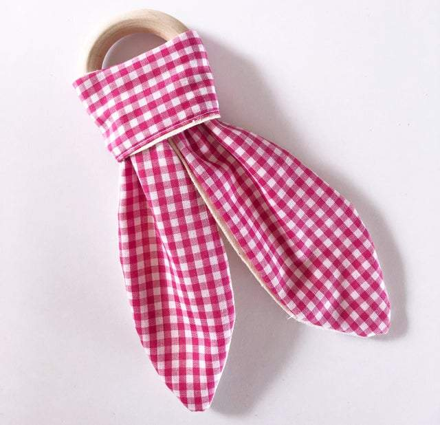 Olive June and Co - Natural Wood Fabric Teether | Fuchsia Gingham