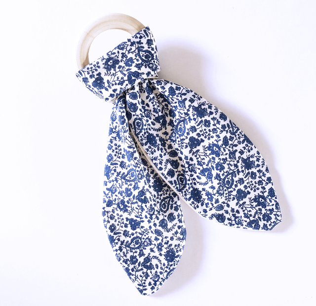 Olive June and Co - Natural Wood Fabric Teether | Blue Iris