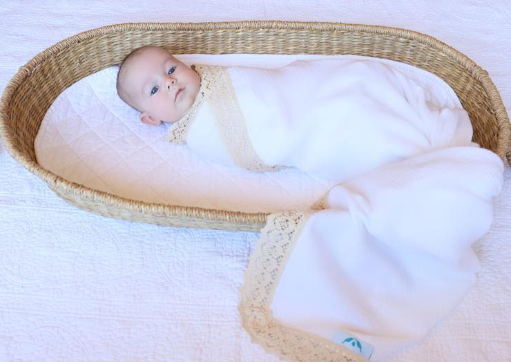 Kute Cuddles - Heirloom Swaddle - Milk with Beige Lace