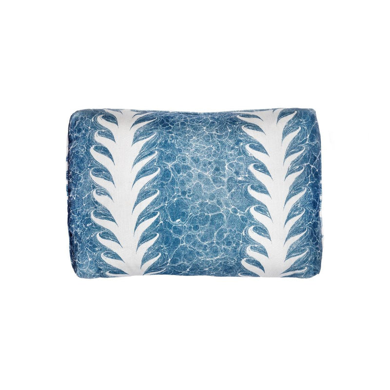 Palm Drop Linen Cushion: Sky Blue/Plaster