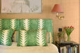 Palm Drop Linen Cushion: Sea Green/Chalk