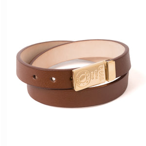 Gold double wrap leather women's bracelet