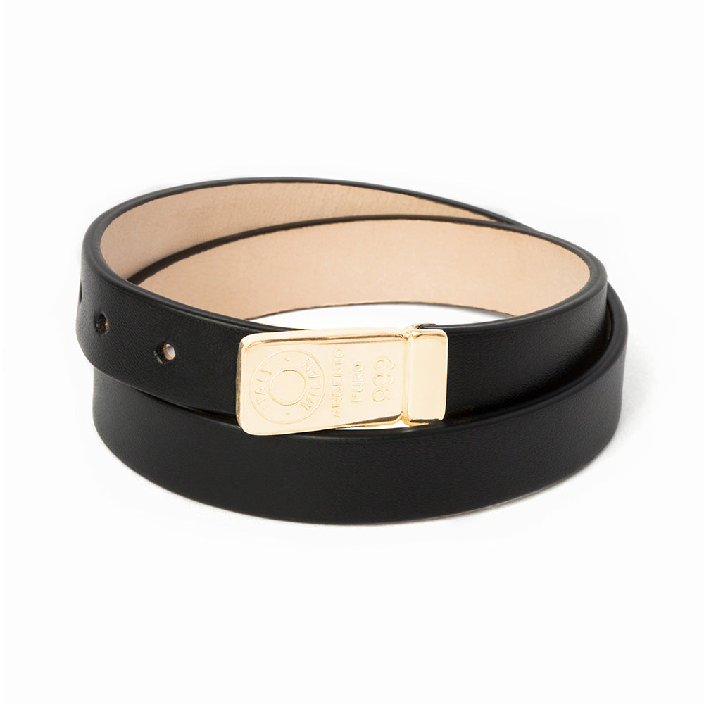 Double leather bracelet man gold plated silver