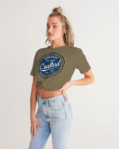 Locally Crafted Women's Twist-Front Cropped Tee