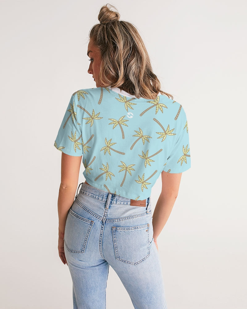 Her Palm Palms Women's Twist-Front Cropped Tee
