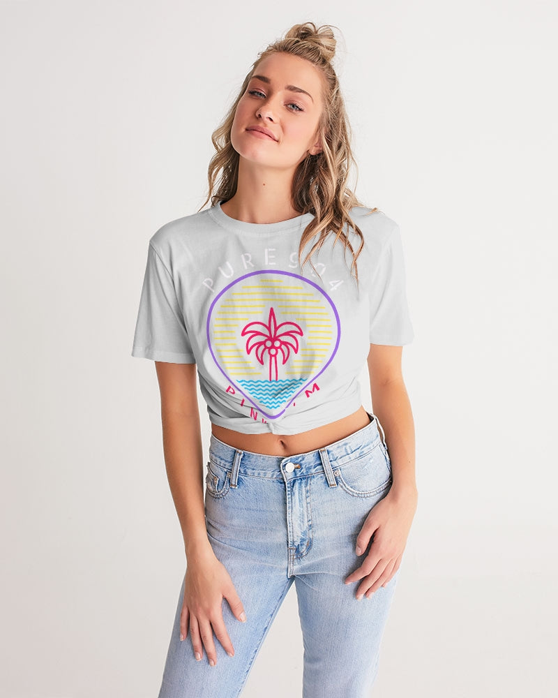 Pink Palm - Grey Women's Twist-Front Cropped Tee