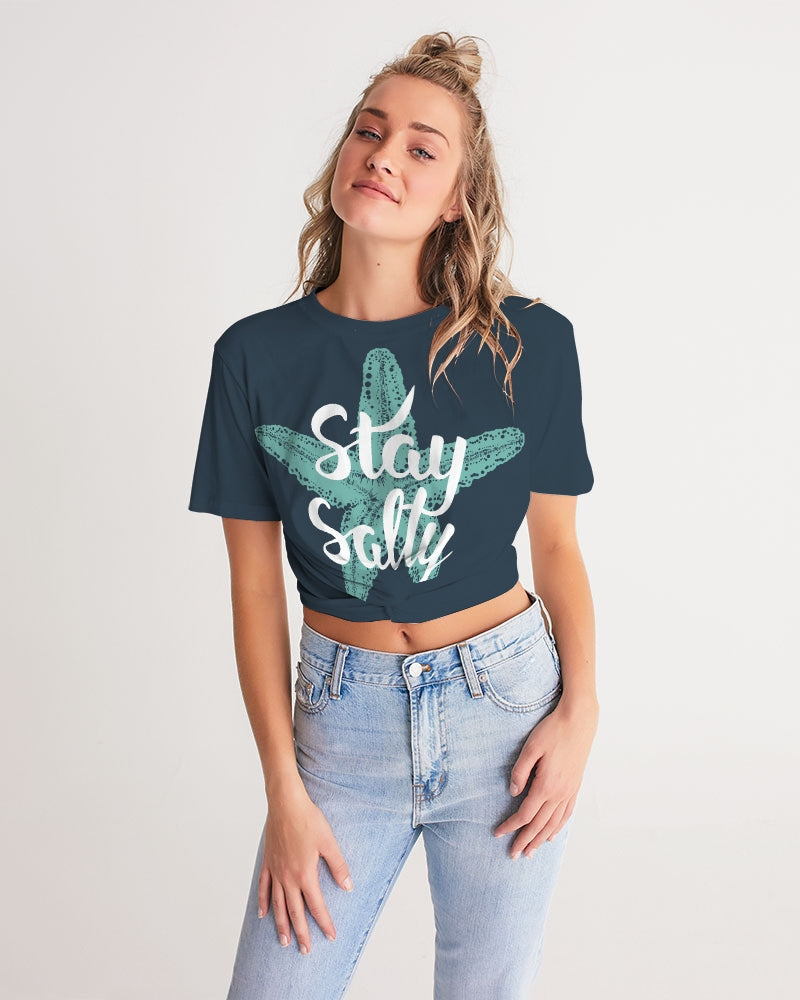 Stay Salty Women's Twist-Front Cropped Tee