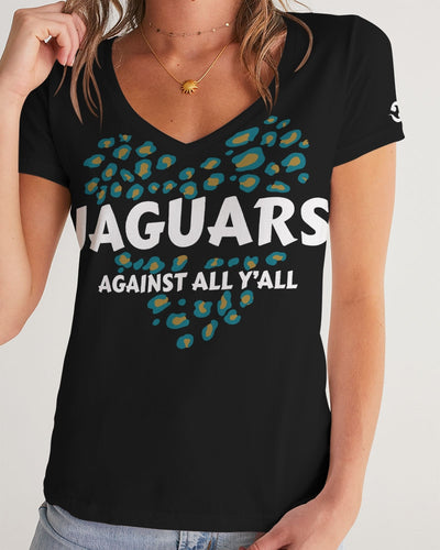 Jaguars Against All Y'all Women's V-Neck Tee