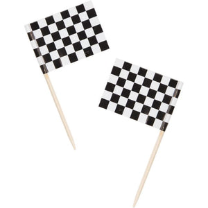 "Picks, Flag 2.5"", Black and White Check - Pack of 600 Count"
