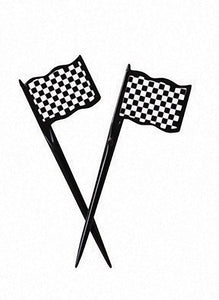 Picks, Plastic Flag, Black and White Check - Pack of 144 Count