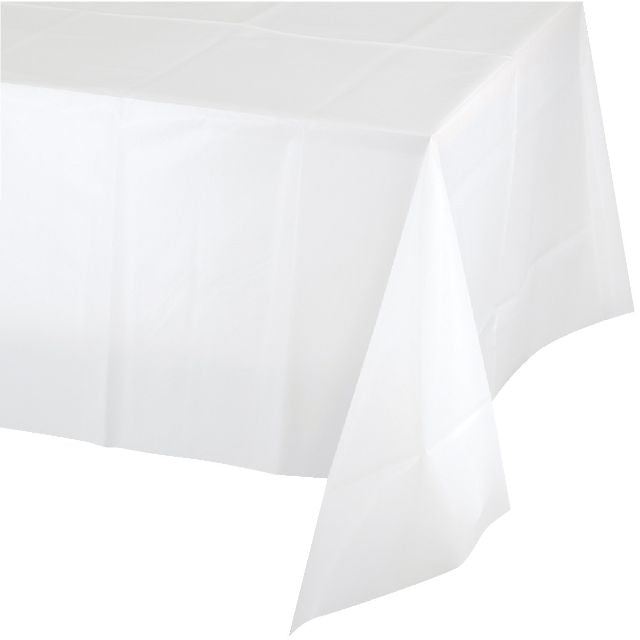 "White Table Cover Plastic 54""x108"" - Pack of 24 Count"