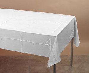 "White Table cover Plastic 54""x108"" - Pack of 12 Count"