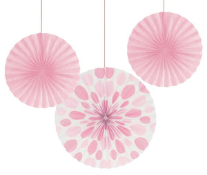 "Paper Fans 12"" & 16"", Dots/Stripes, Classic Pink - Pack of 18 Count"