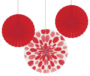 "Classic Red Dots Paper Fans, 12"" & 16"" - Pack of 18 Count"