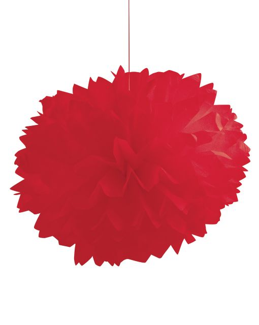 "Classic Red Fluffy Tissue Balls 16"" - Pack of 36 Count"