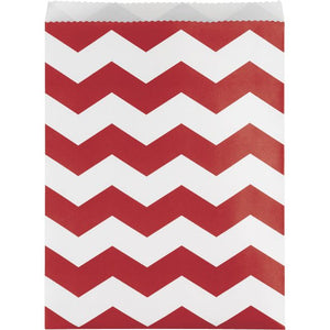 Classic Red Chevron Paper Treat Bags Large - Pack of 120 Count