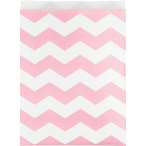 Paper Treat Bag, Large Chevrons, Classic Pink - Pack of 120 Count