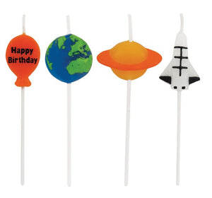 Candles Space Themed Molded Pick Sets Happy Birthday - Pack of 48 Count