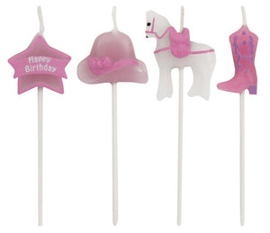 Candles Horse Pink and White Molded Pick Sets - Pack of 48 Count