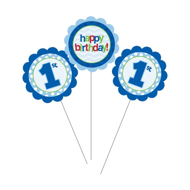 1st Birthday Centerpiece Sticks Blue - Pack of 18 Count