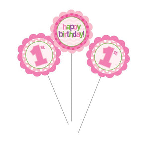 1st Birthday Centerpiece Sticks Pink - Pack of 18 Count