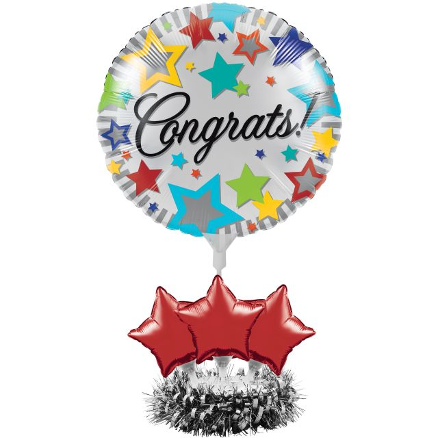 Air Filled Congrats Balloon Centerpiece Kit - Pack of 4 Count
