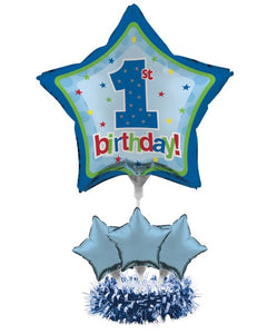 1st Birthday Air Filled Balloon Centerpiece Kit Blue - Pack of 4 Count