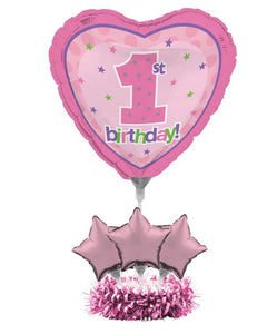 1st Birthday Air Filled Balloon Centerpiece Kit Pink - Pack of 4 Count
