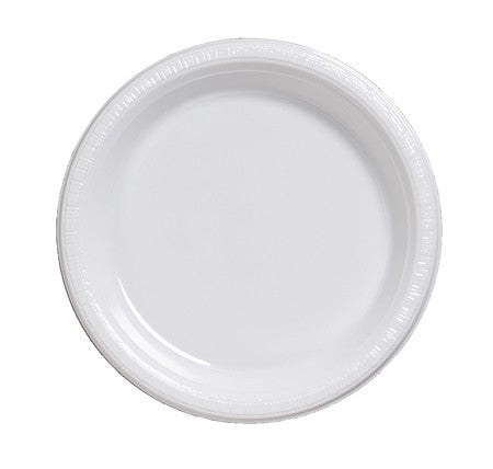 "White Plates 7"" Lunch, Plastic Bulk - Pack of 600 Count"