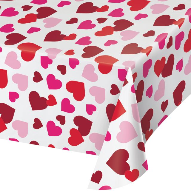 "VALENTINE DÉCOR PLASTIC TABLE COVERS 54"" X 102"" - Pack of 12 Count"