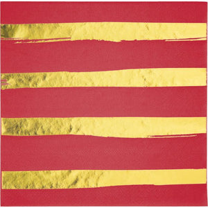 Classic Red Luncheon Napkins 3ply, Foil Stripes - Pack of 192 Count