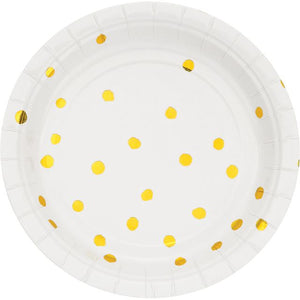 "WHITE GOLD APPETIZER OR DESSERT PLATES GOLD FOIL DOTS 7"" - Pack of 96 Count"