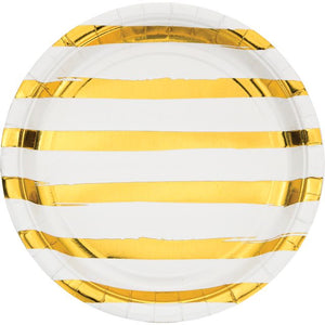 White Gold Foil Dinner Plate With Gold Foil Stripes - Pack of 96 Count