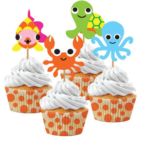 JUVI OCEAN CUPCAKE KIT, 12 SETS (12 BAKING CUPS/12 PICKS) - Pack of 72 Count