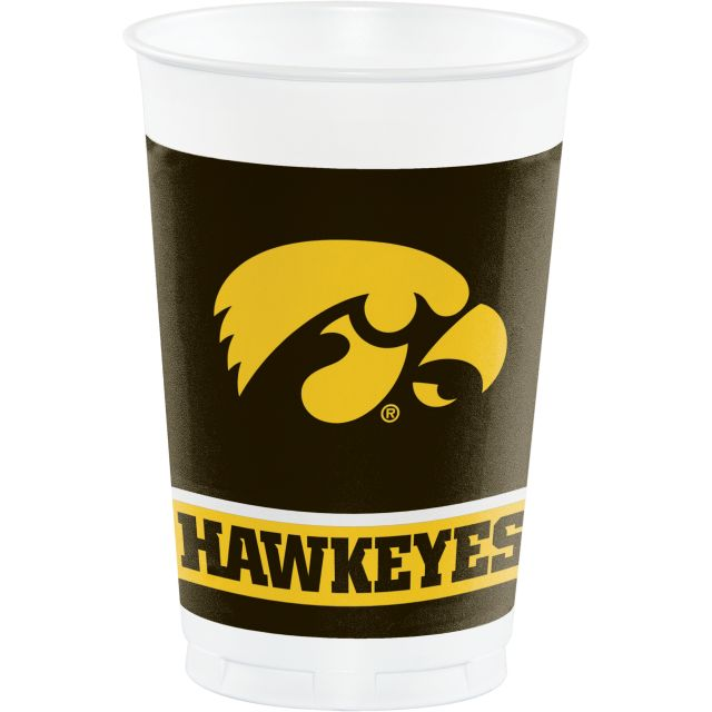 University of Iowa Plastic Cups, 20 Oz - Pack of 96 Count