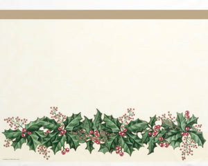 "Winter Holly Border Plastic Table Covers 54""x 108"" - Pack of 12 Count"