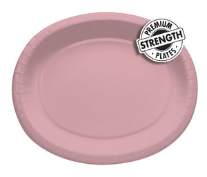 "Classic Pink 10""x 12"" Oval Platters, Paper - Pack of 96 Count"