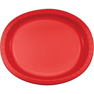 "Classic Red Paper Oval Platters 10""x 12"" - Pack of 96 Count"