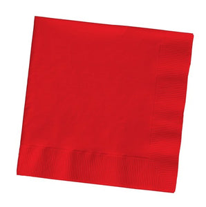 Classic Red Dinner Napkins, 3-Ply, 1/4 Fold - Pack of 250 Count