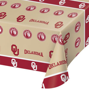 "University of Oklahoma Table Cover, Plastic 54""x108"" - Pack of 12 Count"