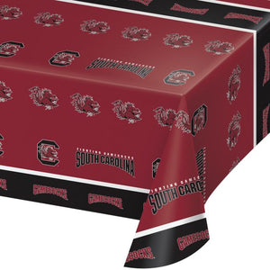 "University of South Carolina Table Cover, Plastic 54""x108"" - Pack of 12 Count"