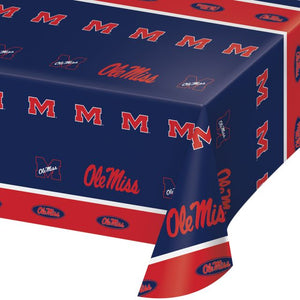 "University of Mississippi Table Cover, Plastic 54""x108"" - Pack of 12 Count"