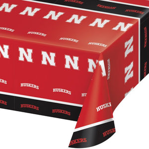 "University of Nebraska Table Cover, Plastic 54""x108"" - Pack of 12 Count"